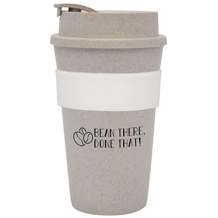 Reusable coffee cup with fun quote