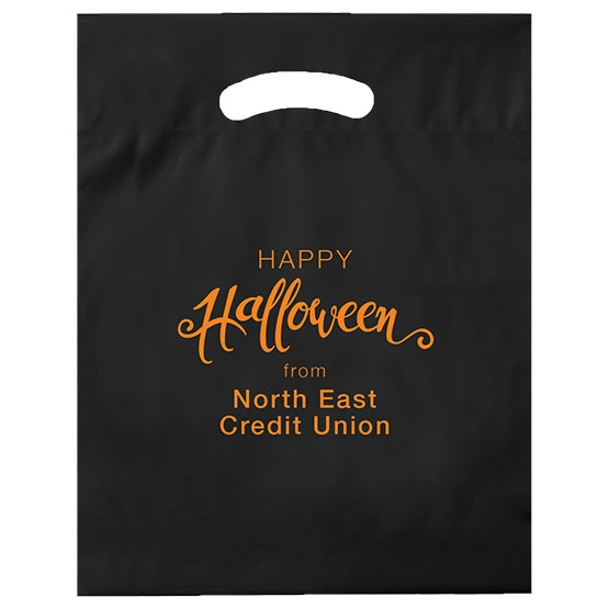 Biodegradable plastic bag in black with halloween logo
