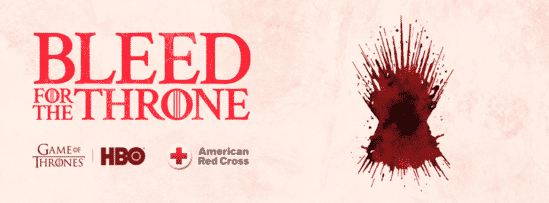 Image of the text 'Bleed for the Throne' with a red bloodstain.