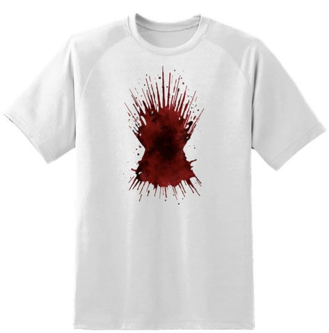 White t-shirt with graphic of red bloodstain shaped like the Iron Throne from Game of Thrones