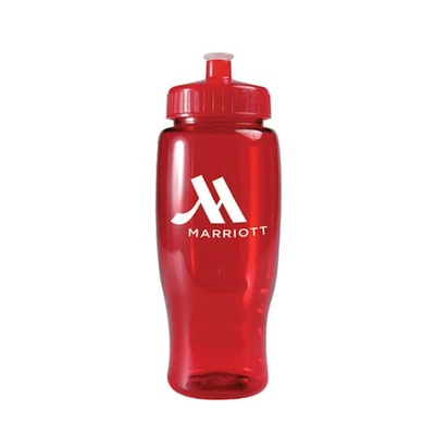 Red translucent reusable plastic water bottle with white logo
