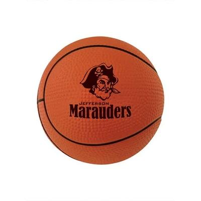 Stress ball that resembles an orange basketball with a black logo