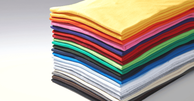 Colorful stack of t-shirts