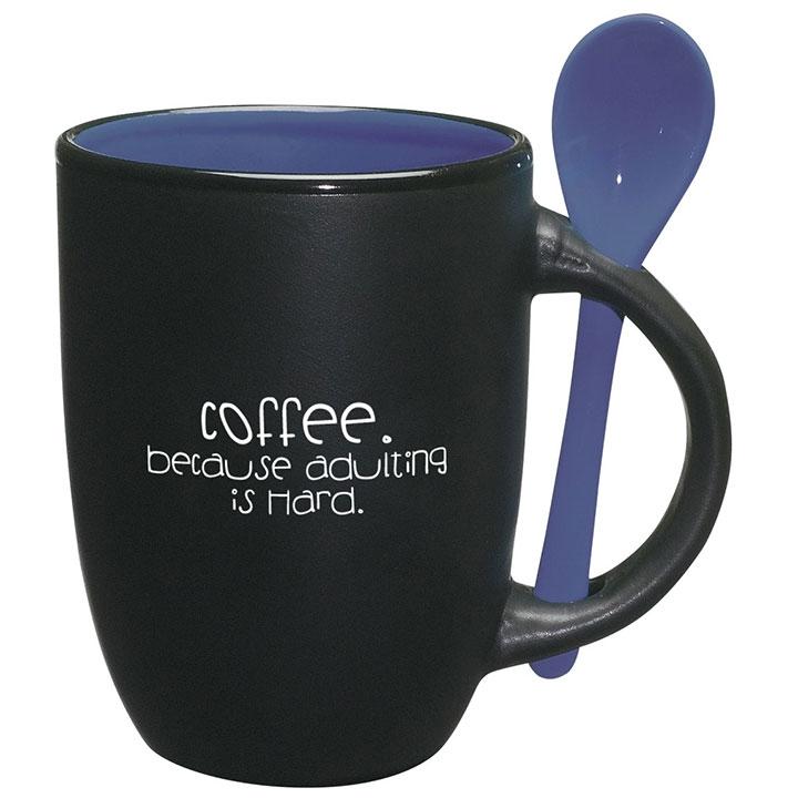 Coffee mug with matching spoon