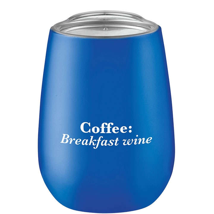 Blue coffee cup with clear lid and funny coffee saying