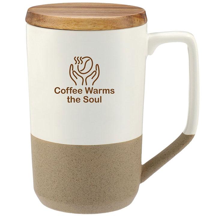 Cork and ceramic mug with lid