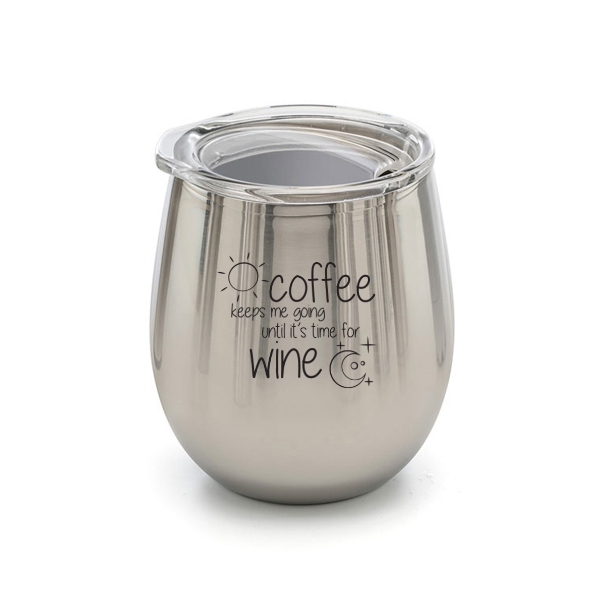 Stainless steel wine tumbler with quote