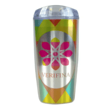 Stainless steel tumbler with wrapped multicolored design and clear plastic lid