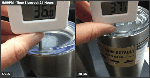 Photo of one stainless steel tumbler with a thermometer that reads 36℉, and another that reads 37.1℉