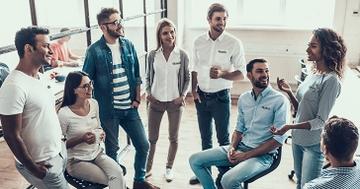 Employees wearing custom corporate apparel