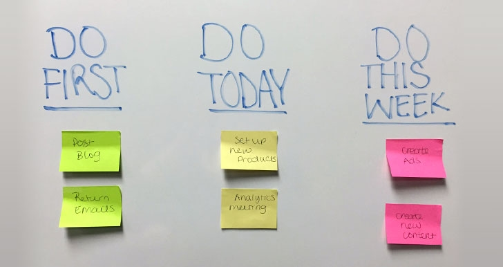 Sticky note to-do list on white board