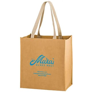 Brown paper bag with long handles and bright blue logo