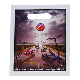 White plastic bag with cutout handles and full-color image of scooters on a road