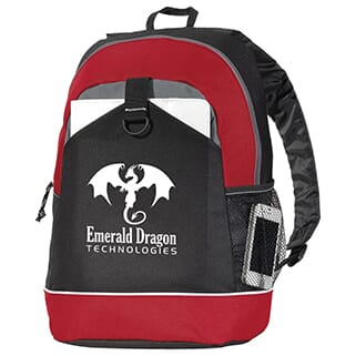 Red, black and grey backpack with white logo