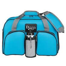 Turquoise duffle bag with gray and black trim, and a white and black leather logo