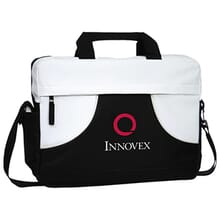 Black and white messenger bag with white and red logo