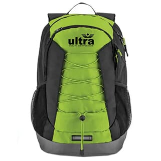 Bright green, gray and black backpack with black logo