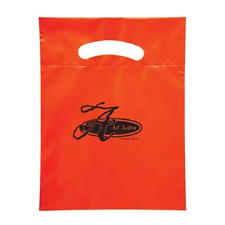 Bright red plastic bag with black logo and cutout handles