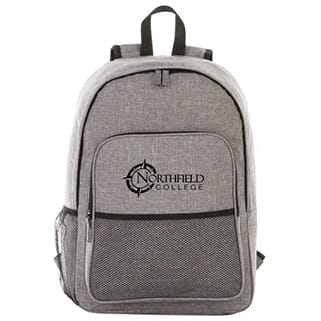 Gray backpack with black trim and black logo