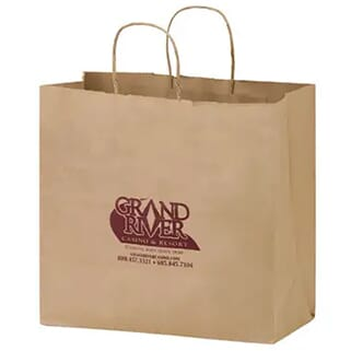 Brown paper carry-out bag with dark red logo