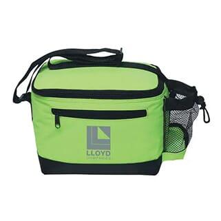 Lime green rectangular cooler bag with gray logo and black trim