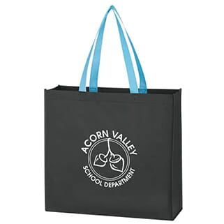 Black tote bag with blue straps and white logo