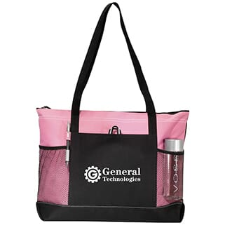 Pink and black canvas tote bag with two mesh water bottle pockets and white logo