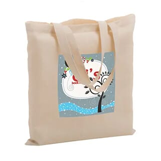 Beige canvas tote bag with multicolored graphic