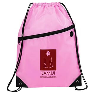 Pink drawstring backpack with black trim and dark red logo