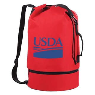 Bright red cylindrical duffle bag with black trim and a blue logo