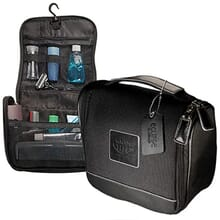 Black foldable toiletry bag with black leather accents