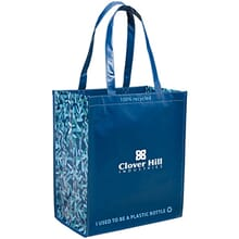 Blue patterned laminated tote bag with long handles and white logo