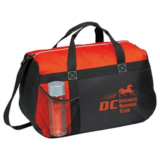 Red and black duffle bag with red logo
