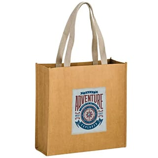 Brown paper tote bag with blue, red and white logo