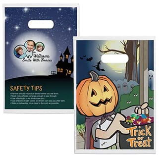 Multicolored Halloween treat bags decorated with a logo, safety tips and an image of a trick-or-treater