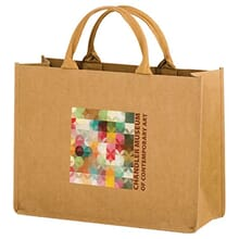 Brown paper shopping bag with multicolored logo