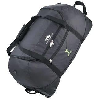 Gray duffle bag with wheels, black trim, a green logo and a white logo