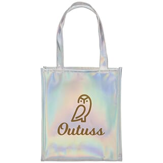 Iridescent silver tote bag with a brown logo