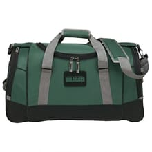 Dark green duffle bag with black and gray trim and a black and green logo