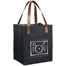 Black tote bag with brown vinyl handles and white logo