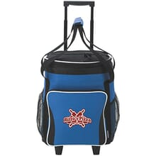 Blue and black rolling cooler with red and white logo