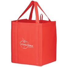 Reusable red tote bag with white logo and shoulder straps