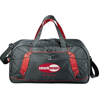 Black and red duffle bag with red and white logo