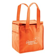 Orange square lunch bag with white logo and drop handles