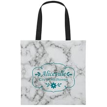 White and gray marble patterned tote with black handles and blue logo