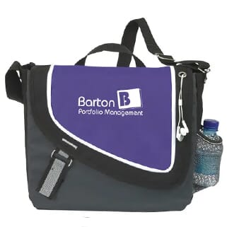 Purple, black and gray messenger bag with a white logo and trim.