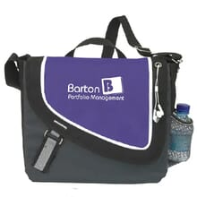 Purple, black and gray messenger bag with a white logo and trim