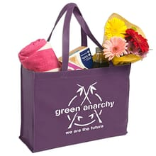 Dark purple polypropylene tote bag with white logo