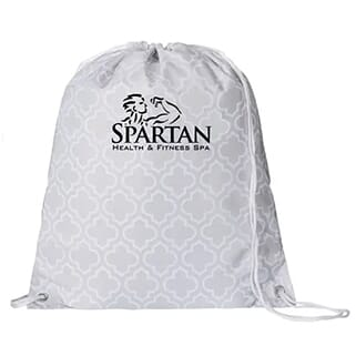 White and light gray patterned drawstring backpack with black logo