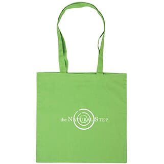Lime green tote bag with long handles and white logo
